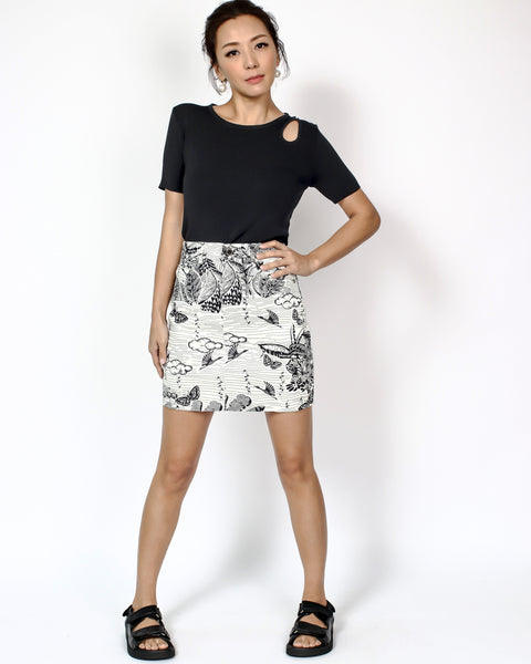 ivory animal printed cotton skort *pre-order*