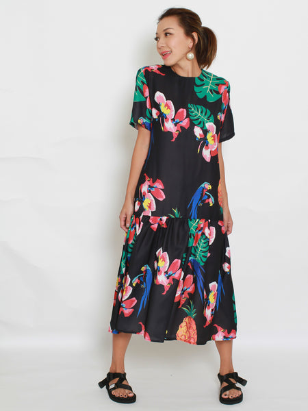 BLACK printed frill midi dress *pre-order*