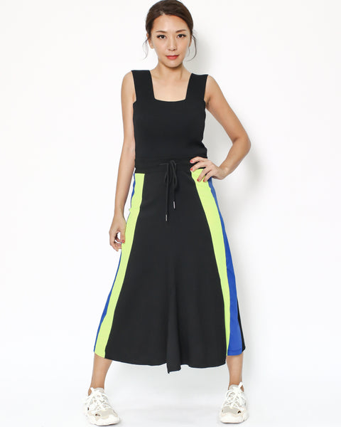 black with neon yellow & blue panel cotton midi skirt