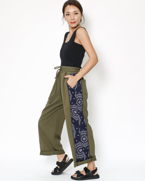army green with navy printed panel straight sweat pants