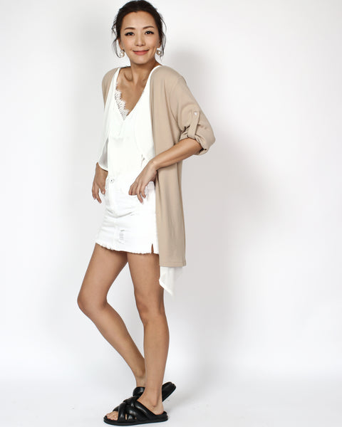 beige & ivory chiffon layers throw on cardigan