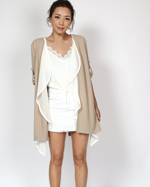 beige & ivory chiffon layers throw on cardigan *pre-order*
