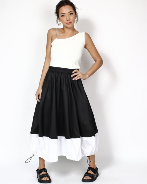 black & ivory panel ruched hem longline skirt *pre-order*