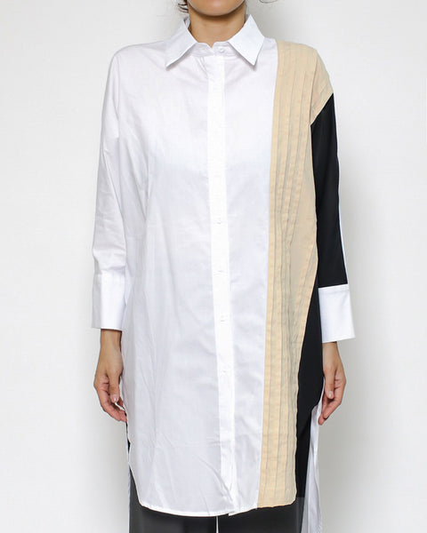 ivory & beige pleats black longline shirt