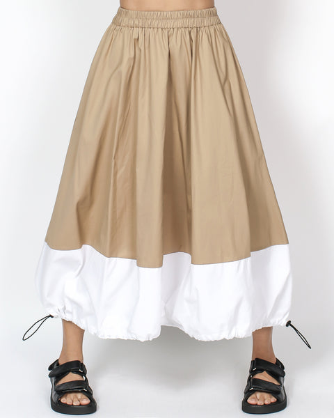 beige & ivory panel ruched hem longline skirt