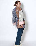 printed patch work padded wrap front jacket with belt