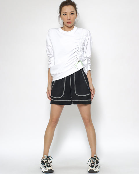black & ivory trim sweat sporty shorts  *pre-order*