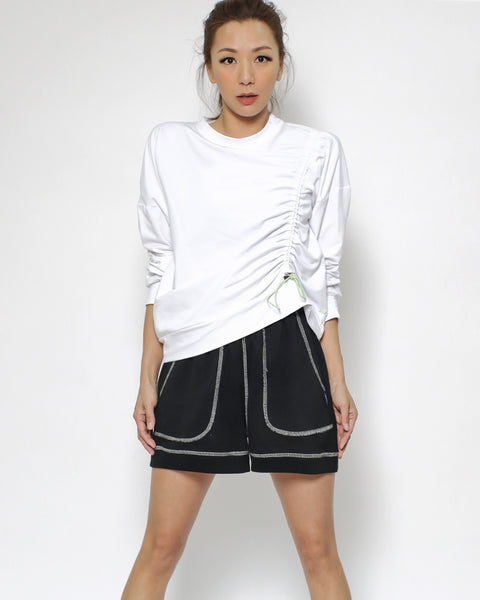 ivory ruched sports sweatshirt  *pre-order*