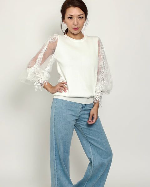 ivory knitted top with lace sleeves *pre-order*
