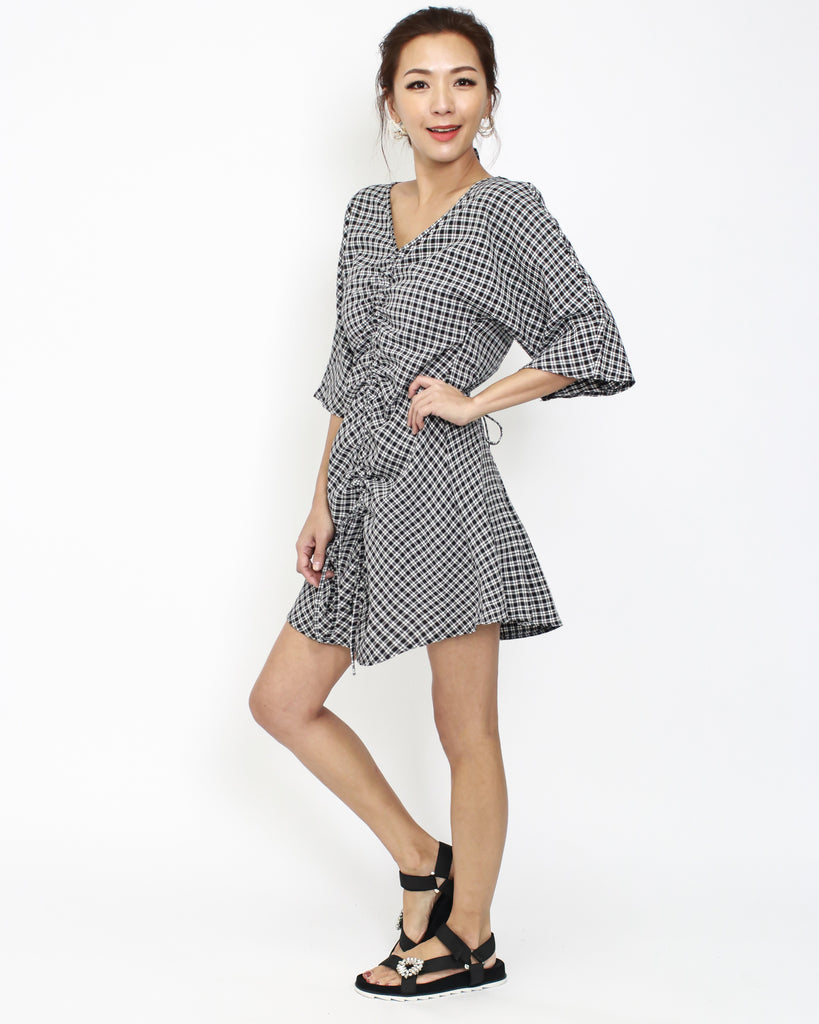 f2888ec99b4 black checkers ruched front dress ...
