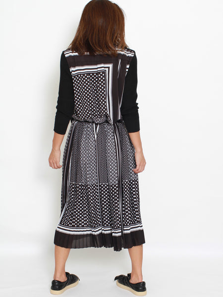 black knitted dress with printed pleats *pre-order*