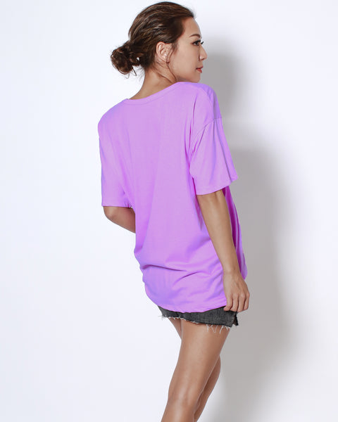 puple basic V neck tee