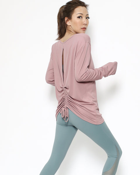 pink ruched cutout back sports top *pre-order*
