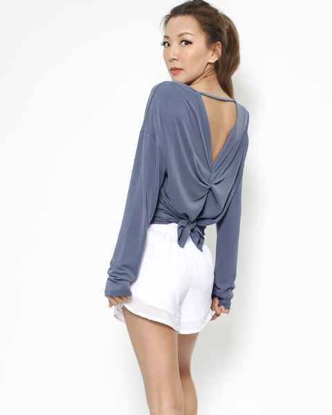 purple blue ruched cutout back sports top *pre-order*