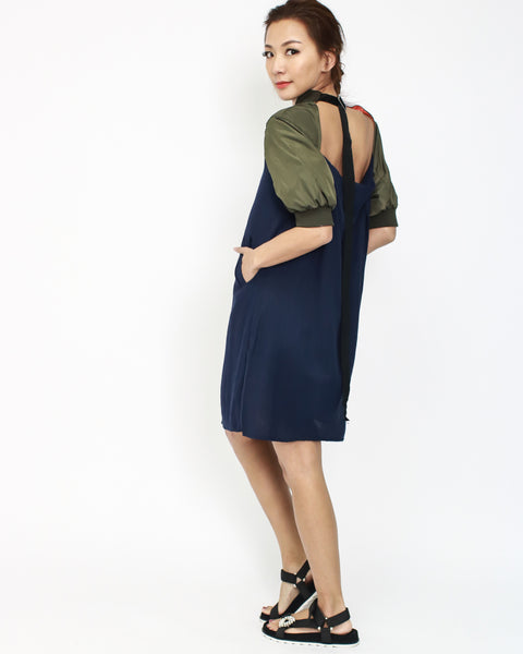 navy linen with olive contrast cutout back dress