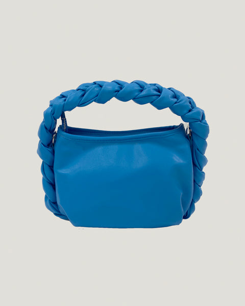 cobalt braid handle PU leather bag *pre-order*