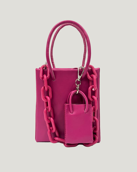 fuchsia PVC chain & small bag PU leather bag *pre-order*