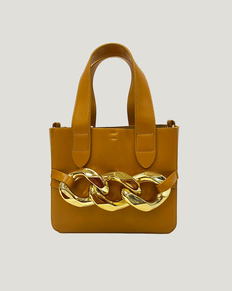 caramel gold buckle PU leather bag *pre-order*