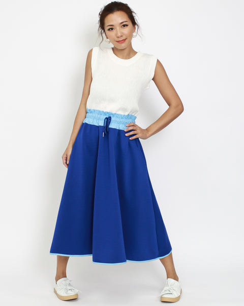 cobalt sweat skirt with blue stretch waist *pre-order*