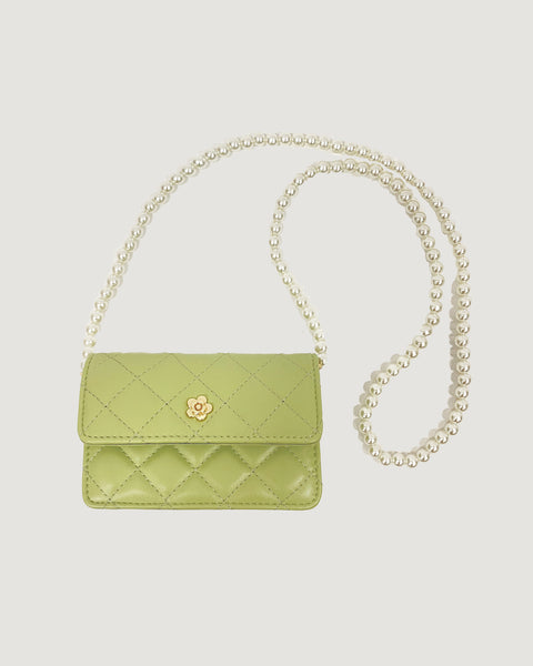 apple green PU laether quilted & peals chain bag *pre-order