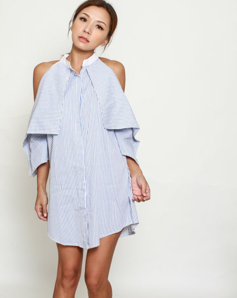blue stripes cutout shoulders shirt dress *pre-order*