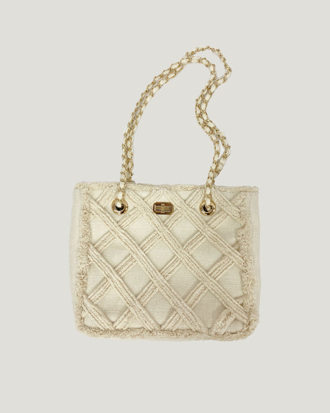 ivory ripped fabric shopping bag *pre-order*