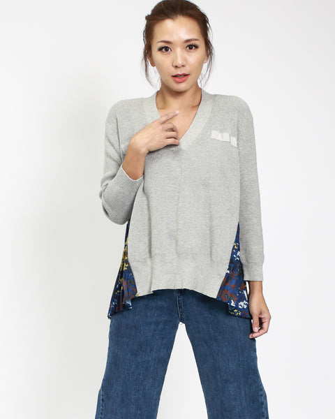 grey knitted & chiffon printed top *pre-order*