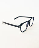 black rectangle clear lense glasses