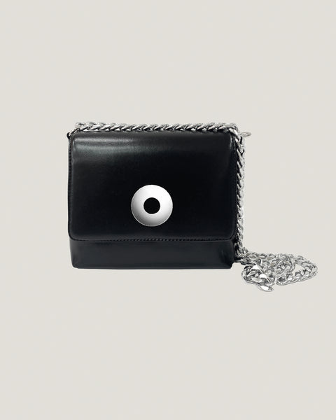 black PU leather with silver chain bag