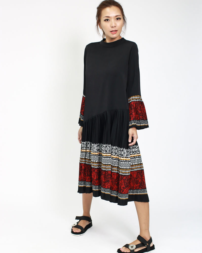 22bfb4b44fe2 ... black chiffon dress with printed pleats hem   sleeves  pre-order  ...