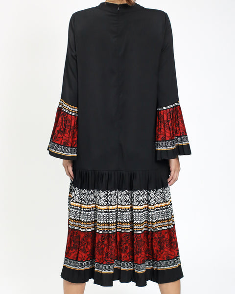 40c065dbd405 ... black chiffon dress with printed pleats hem   sleeves  pre-order