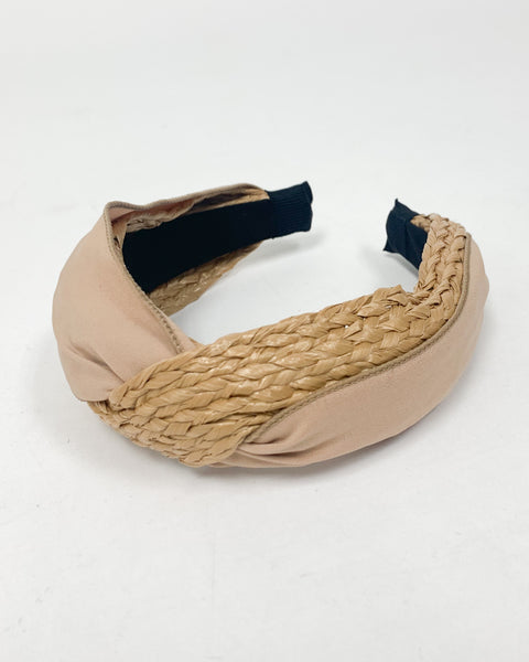 beige straw with nude fabric twisted headband