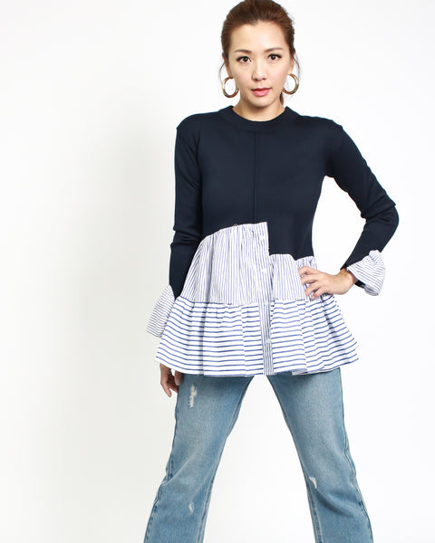 navy knitted top with blue stripes shirt sleeves & frill *pre-order*