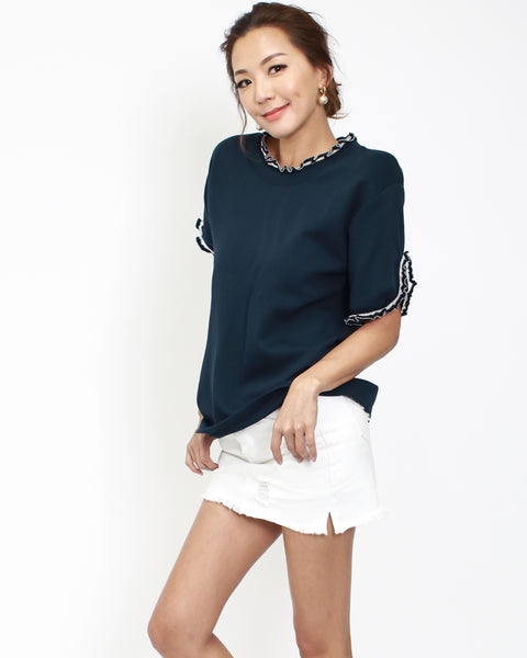 navy tee with ruffles neckline & cuffs