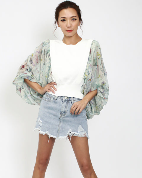 ivory knitted cropped top with printed sheer chiffon puff sleeves *pre-order*