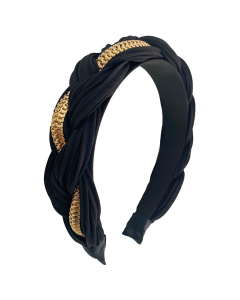black fabric & gold chain twisted headband