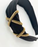 black fabric & gold diamond details headband