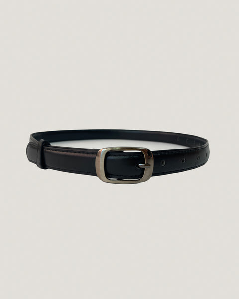 black PU leather silver buckle belt *pre-order*