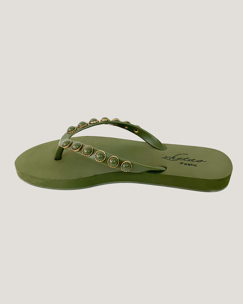 olive green studded flippers *pre-order*