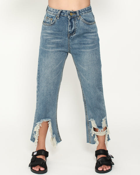 ripped denim cropped jeans