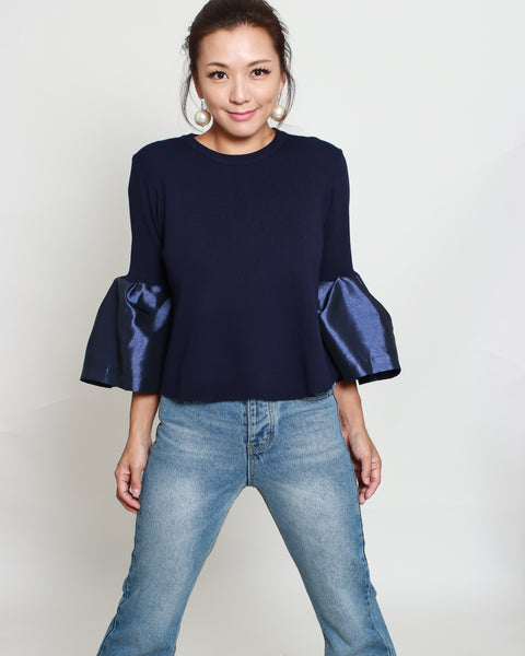Navy knitted with contrast bell sleeves top *pre-order*