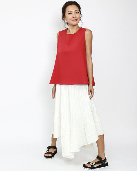 ivory pleats asymmetric hem skirt *pre-order*