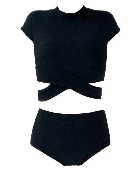 Black texture cropped top & high waist pants set swimwear *pre-order*