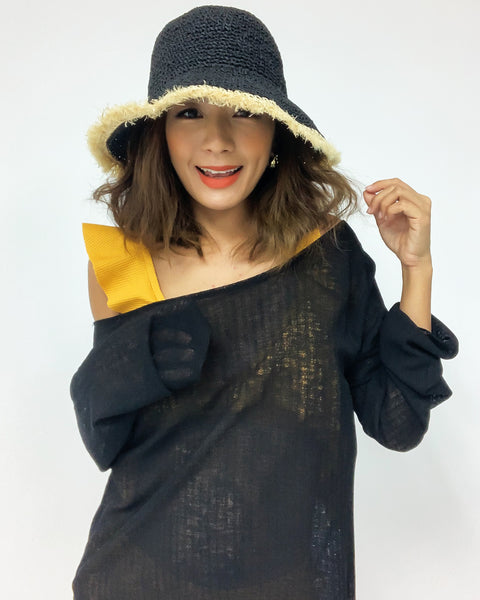 black with beige trim straw hat