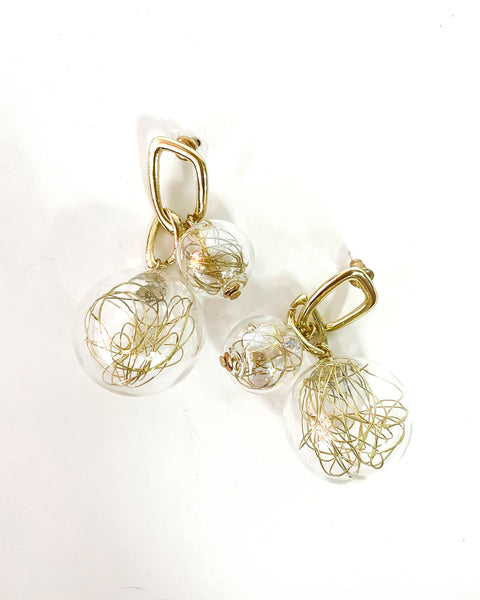 PVC balls with gold threads earrings