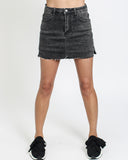 wash grey denim mini skort *pre-order*