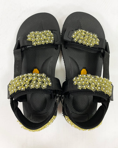 black & yellow beaded strappy sandals *pre-order*