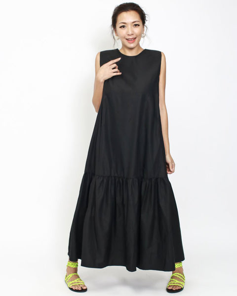 black longline frill shirt dress *pre-order*