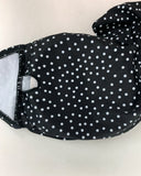 black polka dots one shoulder strappy tube with ruched high waist bottom swimwear