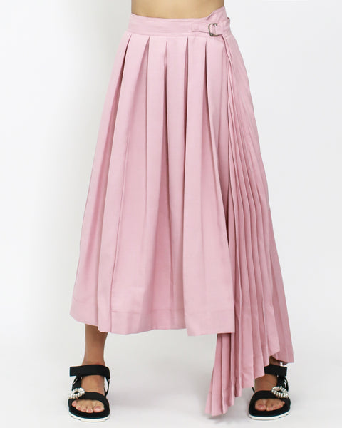 pink pleats asymmetric longline skirt